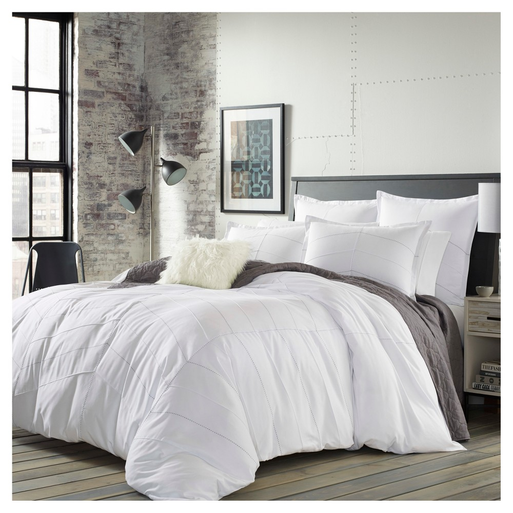 White Courtney Duvet Cover Set (Twin) - City Scene