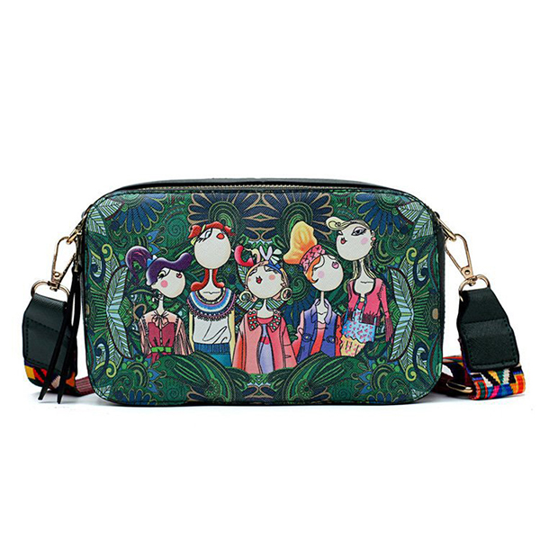 Women Bohemian Forest Series Print Crossbody Bags Mini Handbags