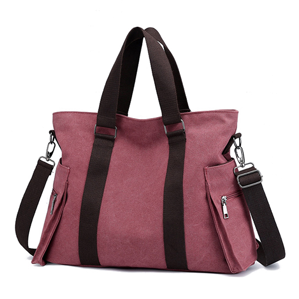 Women Canvas Large Capacity Patchwork Tote Bag Crossbody Bag