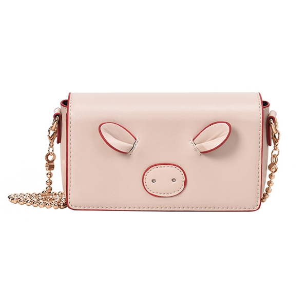 Women Cute Pig Crossbody Bag Chic PU Leather Chain Shoulder Bag