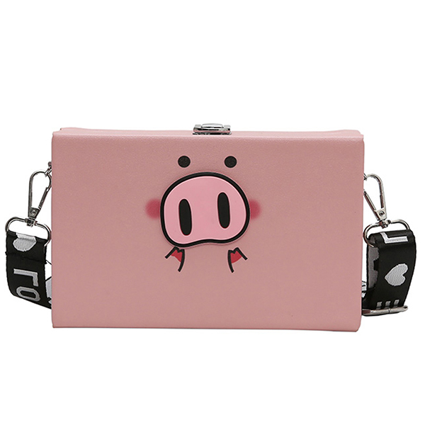 Women Cute Pig Print Crossbody Bag Casual Shoulder Bag