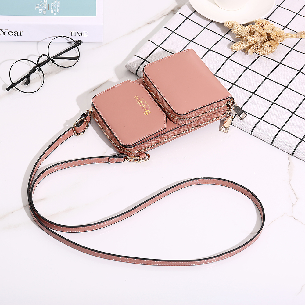 Women Design Multifunction Phone Bag Solid Crossbody Bag