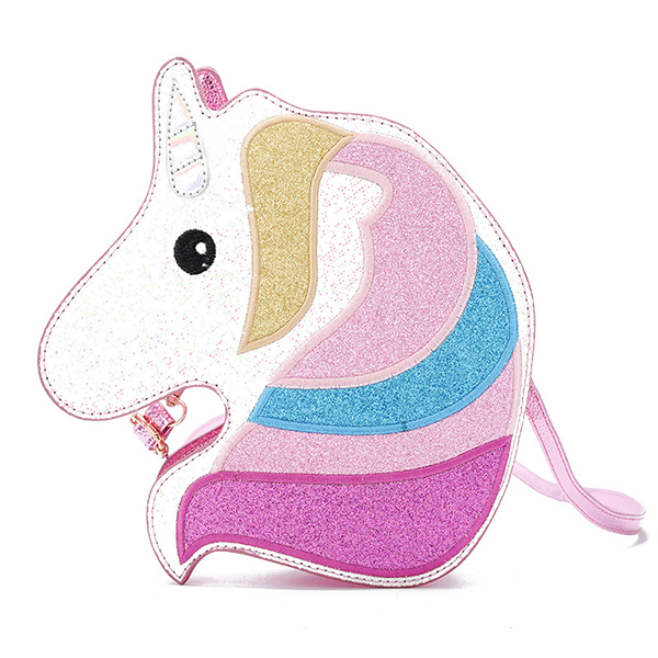 Women Faux Leather Cute Paillette Horse Shape Crossbody Bag Unicorn Shoulder Bag