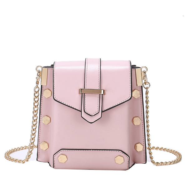 Women Faux Leather Rivet Plain Chain Bag Shoulder Bag Crossbody Bag