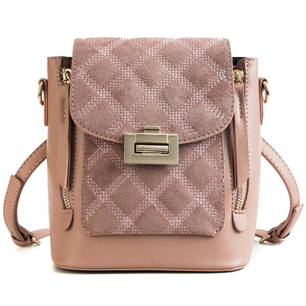 Women Lingge Multi-function Backpack Solid Chain Crossbody Bag