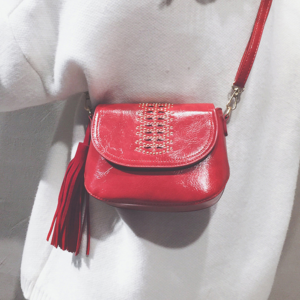 Women National Style Hollow Out Tassel Shoulder Bag
