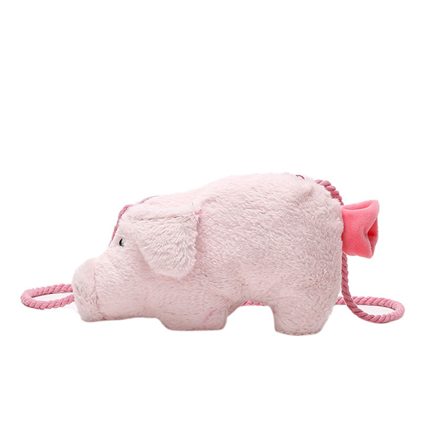 Women Plush Cute Pig Crossbody Bag Pink Shoulder Bag Casual Phone Bag