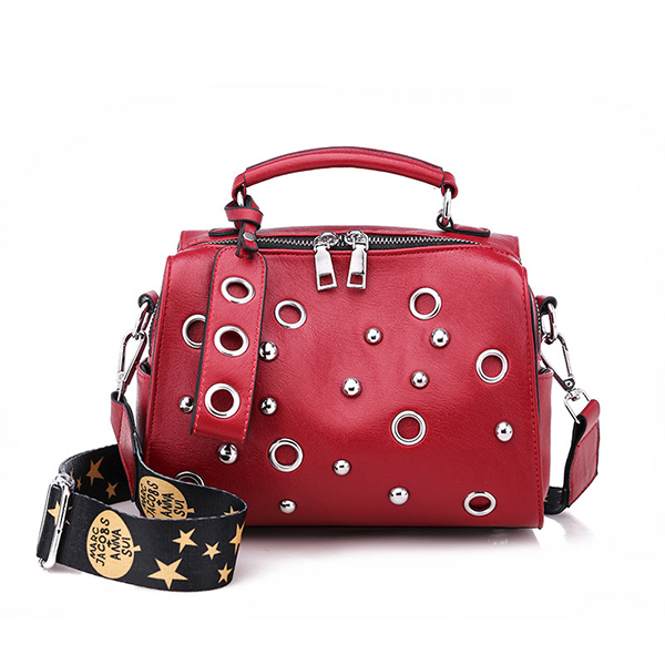 Women Rivet Boston Crossbody Bag Stylish Boston Handbag Solid Shoulde Bag