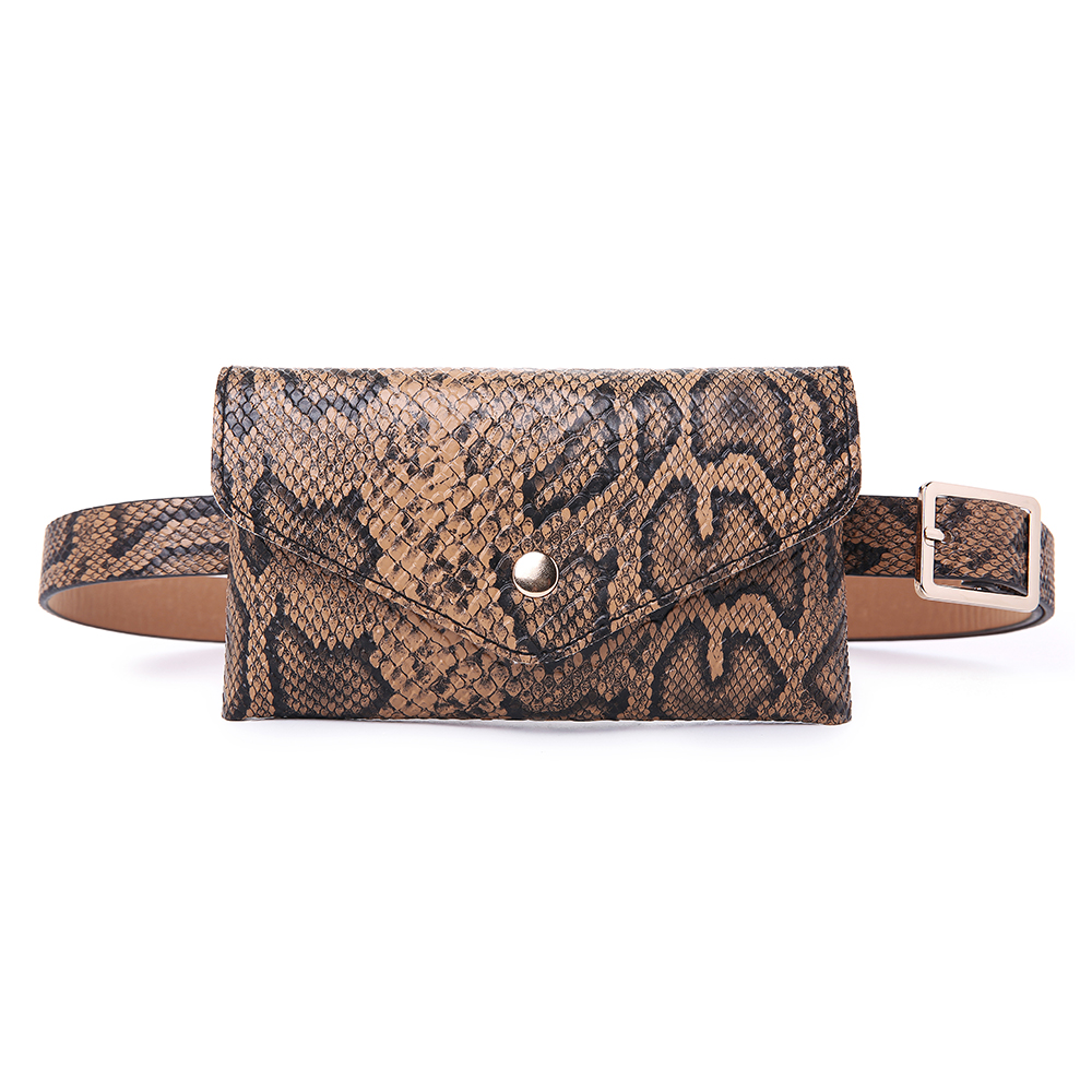 Women Snake Pattern Waist Bag PU Leather Phone Purse Casual Chest Bag