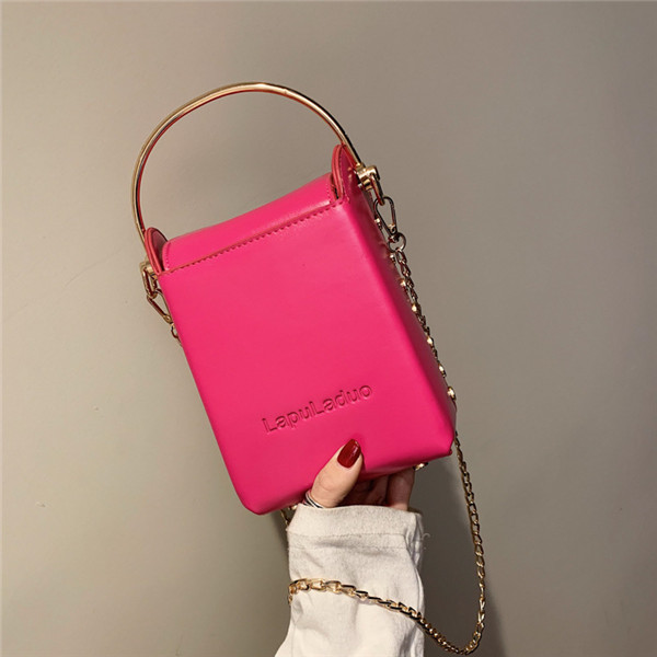 Women Solid Chain Crossbody Bag Leisure PU Leather Shoulder Bag