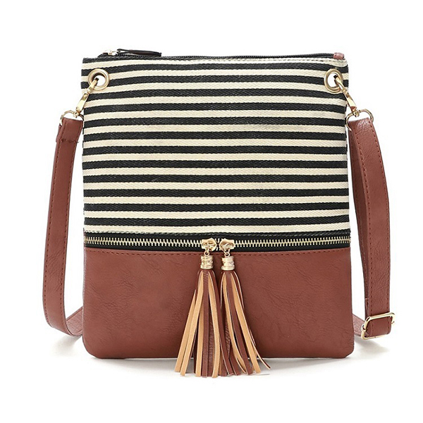 Women Stripe Canvas PU Leather Crossbody Bag Tassel Shoulder Bag