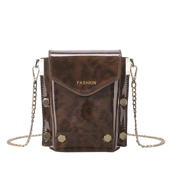 Women Vintage Chain Crossbody Bag PU Leather Chic Shoulder Bag