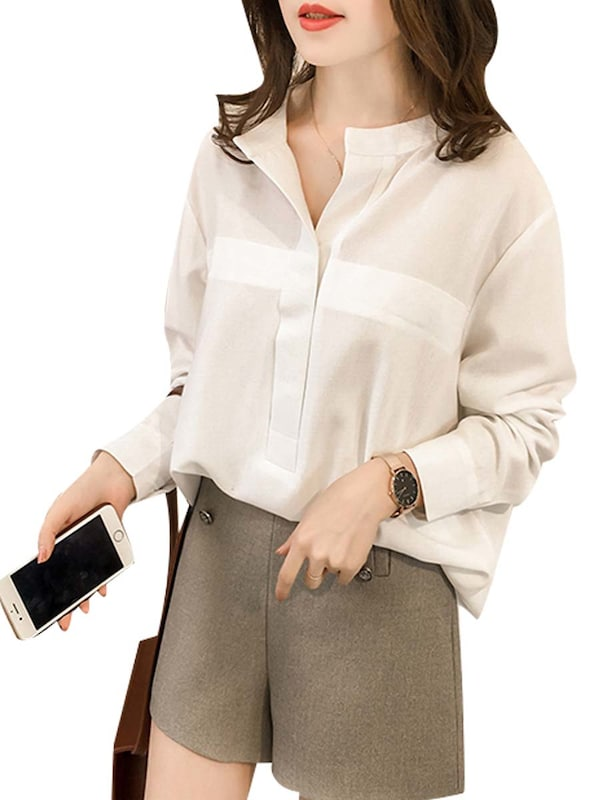 Women's Blouse Fashion Solid Loose O Neck Top