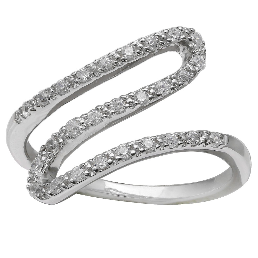 Women's Clear Pave Cubic Zirconia Sideways Swirl Ring in Sterling Silver - Clear/Gray (Size 8) from Distributed by Target