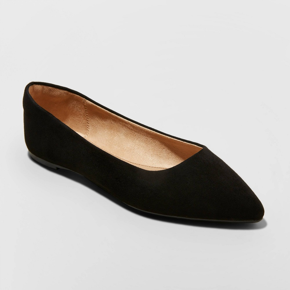 Women's Corinna Pointed Toe Ballet Flats - A New Day Black 7 from A New Day