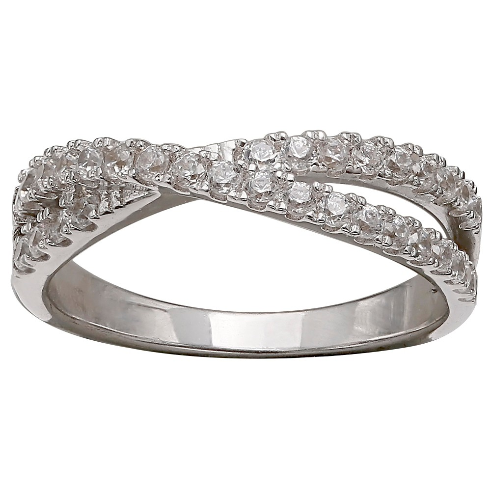 Women's Double Crossover Cubic Zirconia Ring in Sterling Silver - Silver/Clear (8) from Distributed by Target