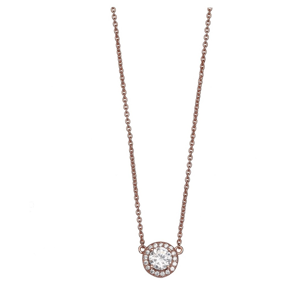 "Women's Necklace with Round Cubic Zirconia in Rose Gold over Sterling Silver -Rose (18"") from Distributed by Target"
