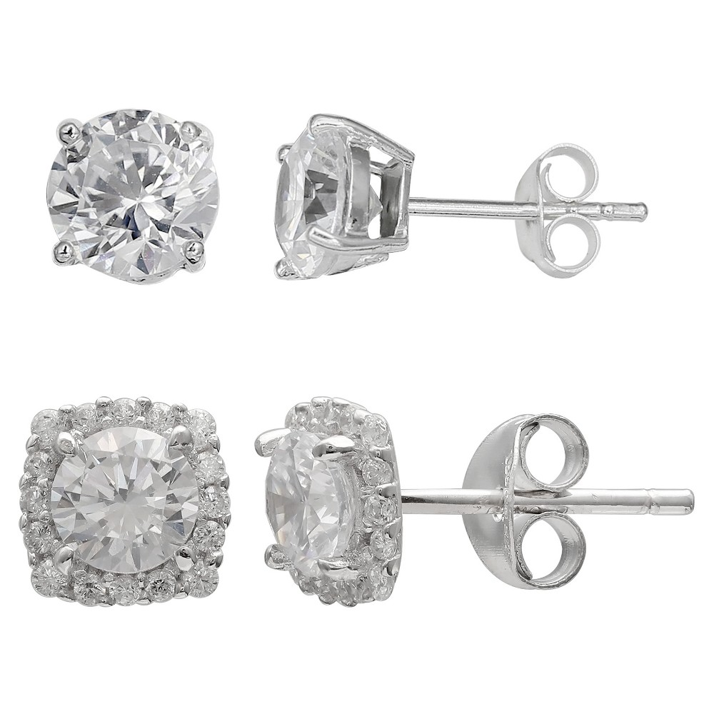 Women's Set of Stud and Button Earrings with Cubic Zirconia in Sterling Silver - Silver/Clear (8mm) from Distributed by Target