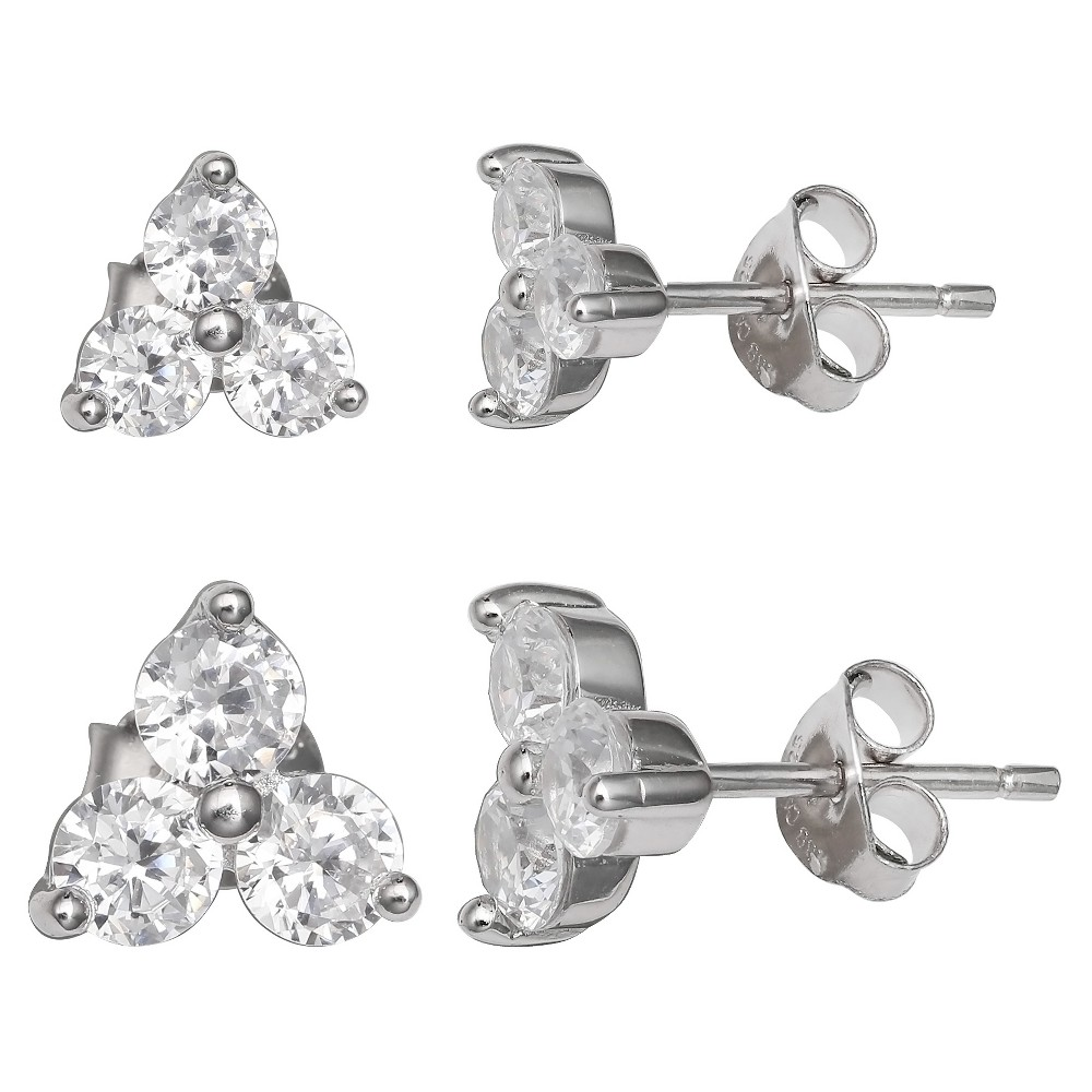 Women's Set of Two Triple Stud Earrings with Clear Cubic Zirconia in Sterling Silver - Silver/Clear (8mm) from Distributed by Target