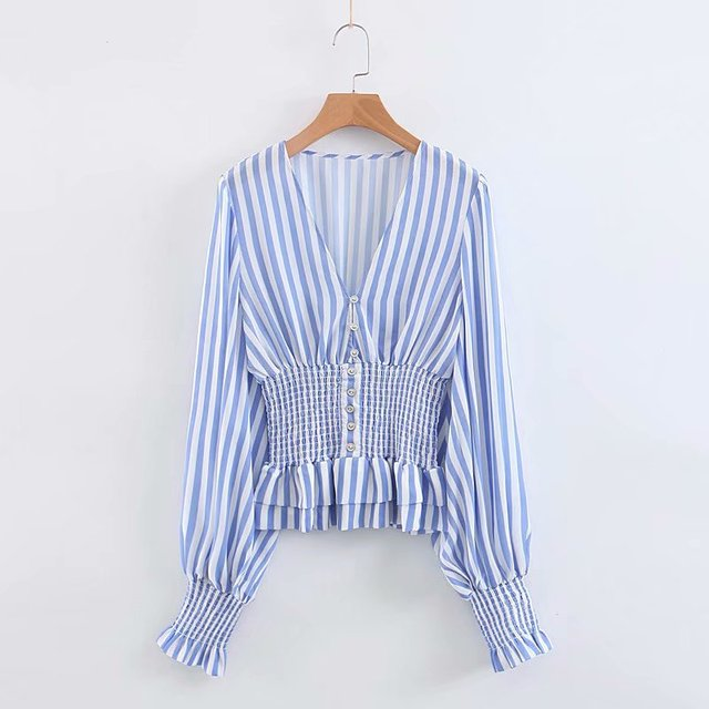 Women's Shirt Season V-neck Striped Print Lantern Sleeve Waist Sling Waist Joker Thin Shirt