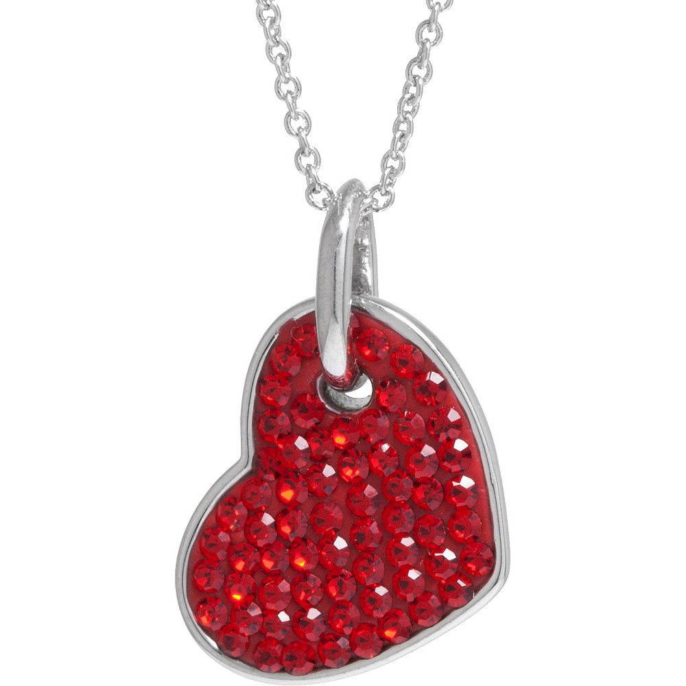 "Women's Silver Plated Crystals Heart Pendant - Red/Silver (18"") from Distributed by Target"