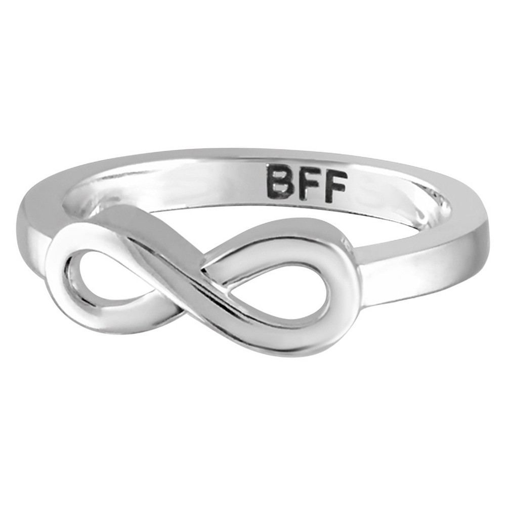 "Women's Sterling Silver Elegantly Engraved Infinity Ring with ""BFF"" - White (9) from Distributed by Target"