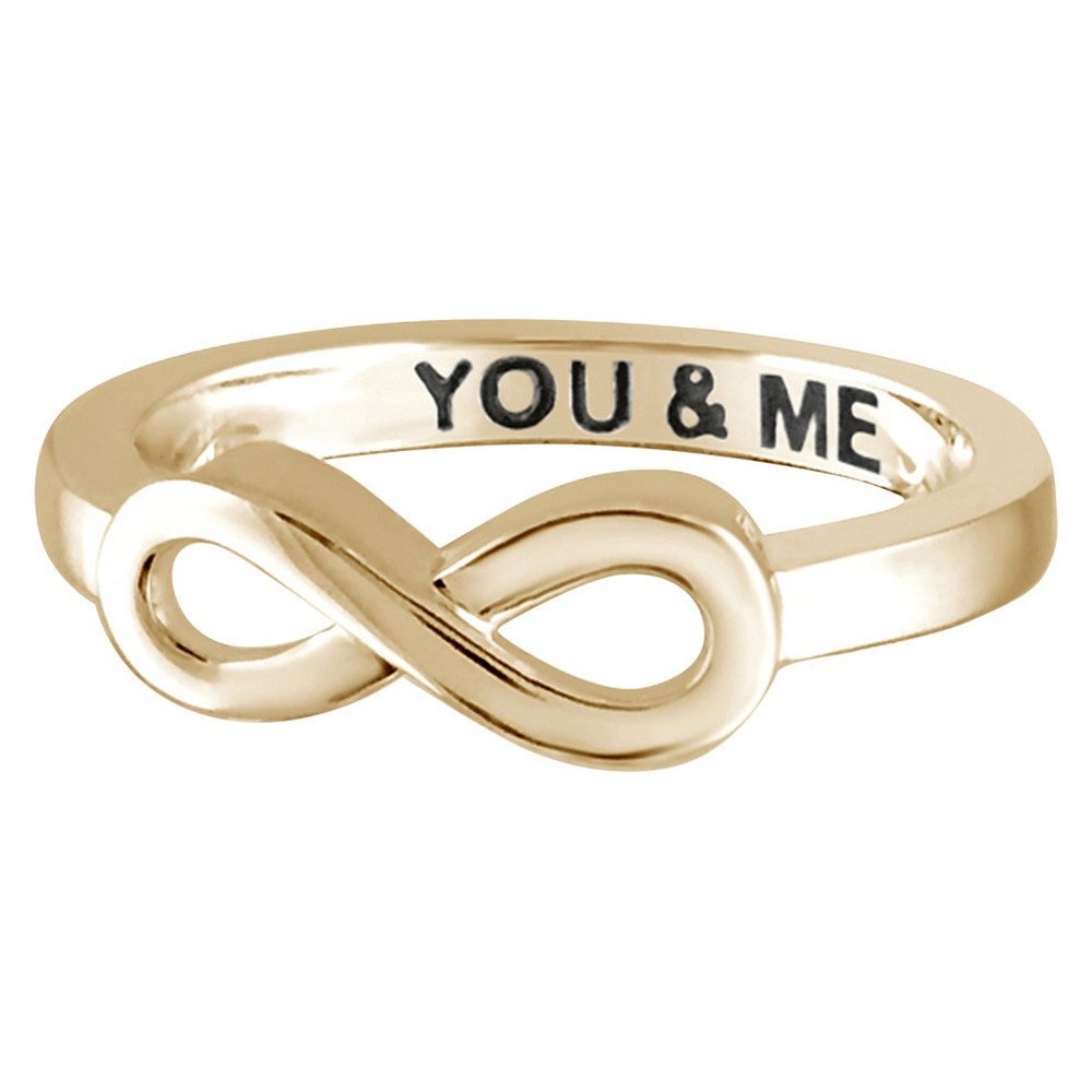 "Women's Sterling Silver Elegantly Engraved Infinity Ring with ""YOU & ME"" - Yellow (9) from Distributed by Target"