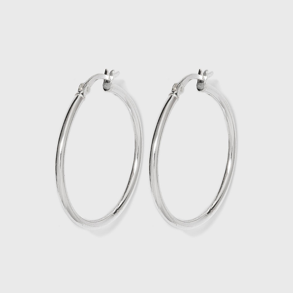 Women's Sterling Silver Hoop Earring with Click Top - Silver (30mm) from Distributed by Target