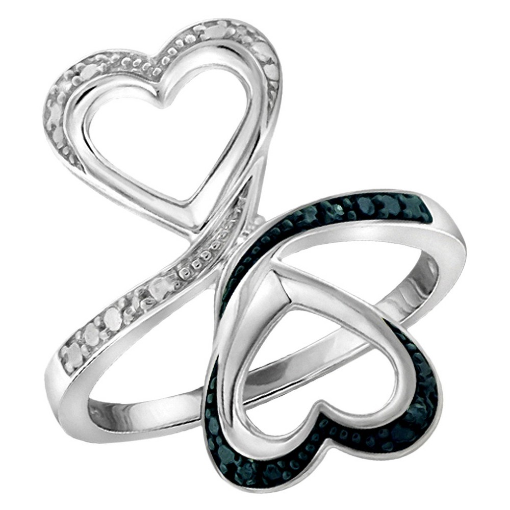Women's Sterling Silver Round-Cut Blue and White Diamond Prong Set Double Heart Ring - White (7) from Distributed by Target