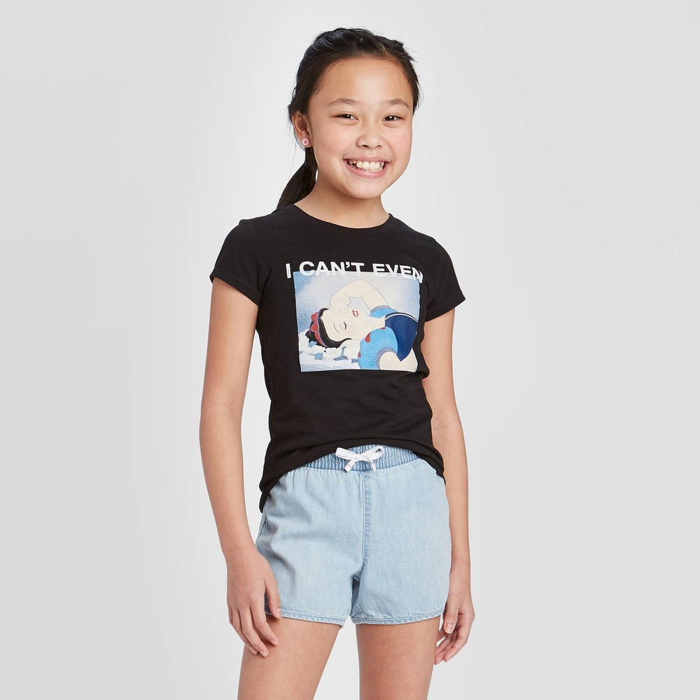 Girls' Disney Princess Snow White 'I Can't Even' Short Sleeve Graphic T-Shirt - Black L from Disney Princess