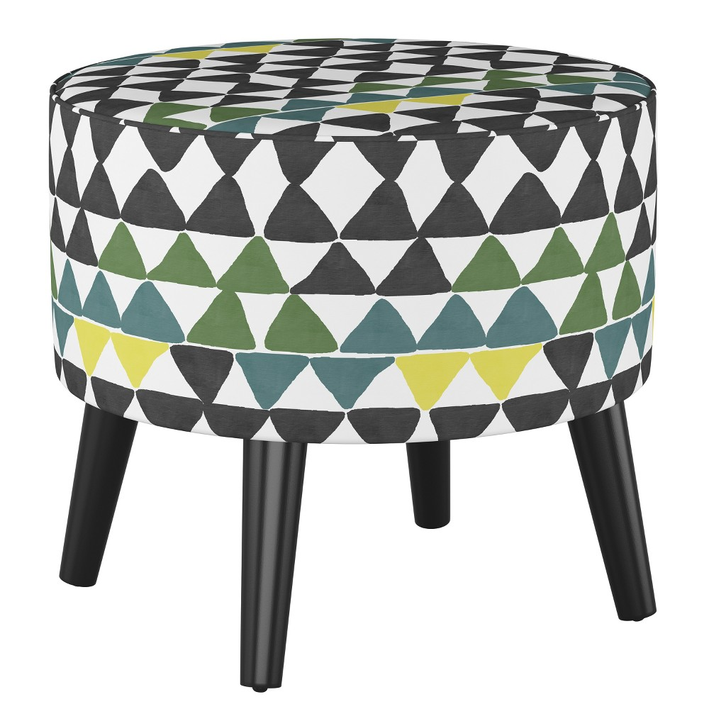 Riverplace Round Cone Leg Ottoman Geometric Triangle Multi - Project 62 from Project 62