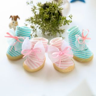 Pet Bow-Accent Stripe Shoes from Puppy Love