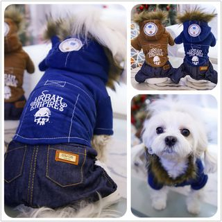 Pet Hooded Denim Panel Top from Puppy Love