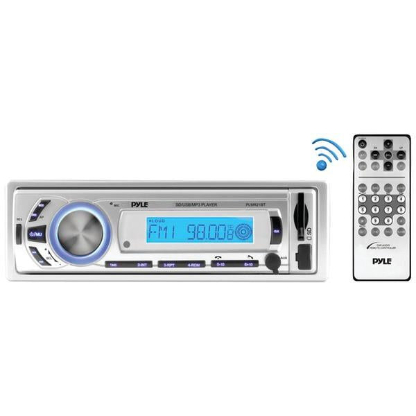 Pyle PLMR21BT Marine Single-DIN In-Dash Mechless Marine AM/FM Receiver with Bluetooth from Pyle