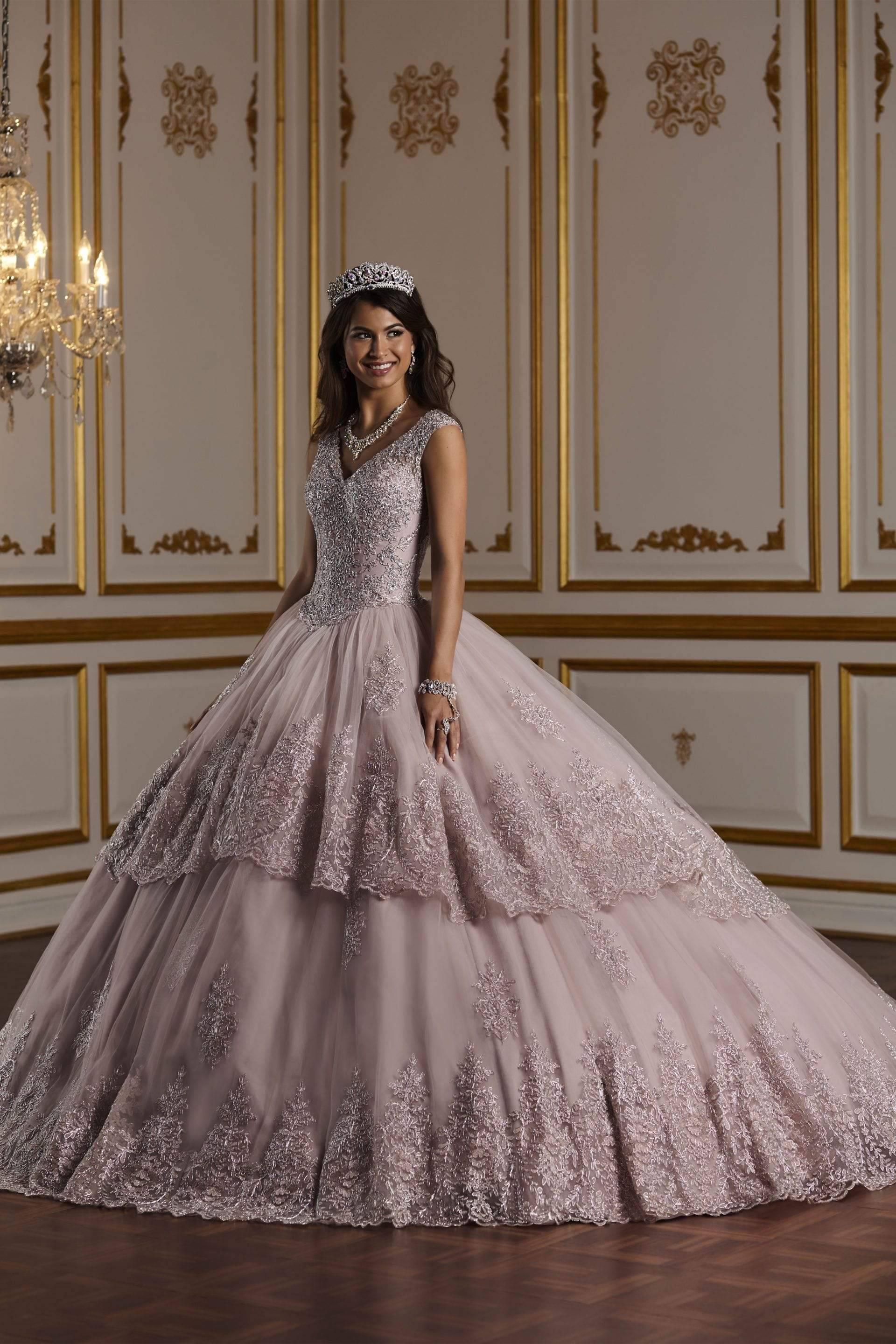 Quinceañera Collection - 26927 Gorgeous Metallic Lace Ball Gown from Quinceanera Collection