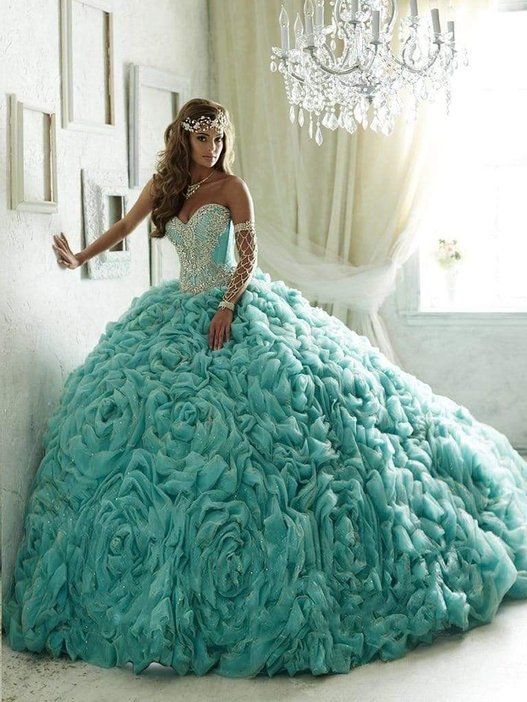 Quinceanera Collection - 26800 Crystal Beaded Rosette Ruffle Ballgown from Quinceanera Collection