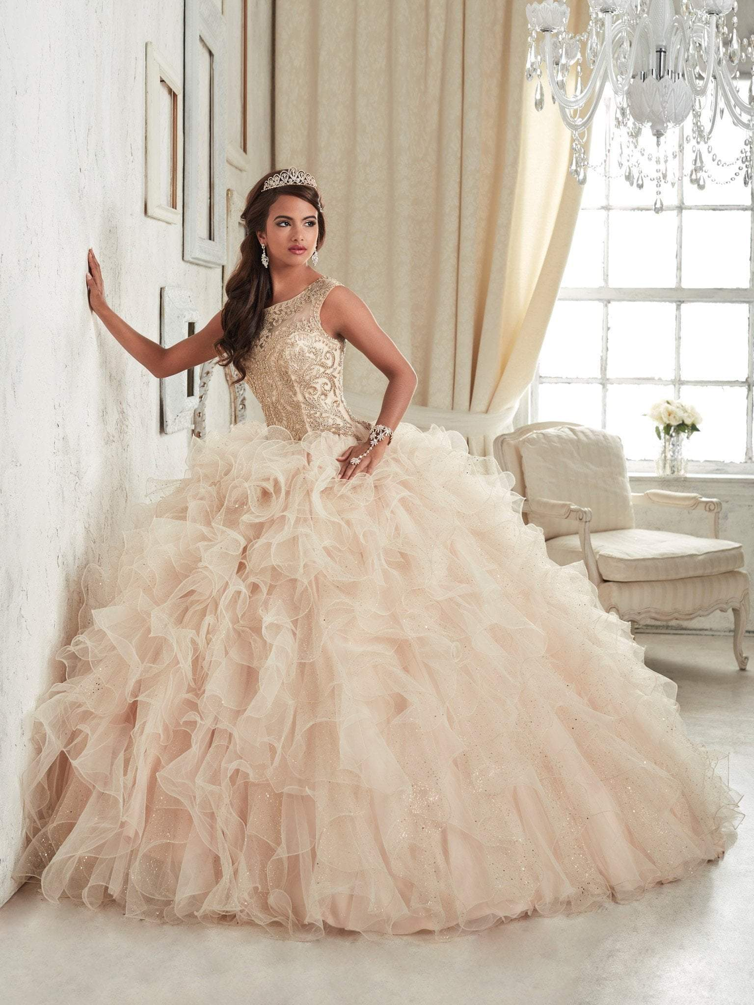 Quinceanera Collection - 26835 Beaded Illusion Bateau Ruffle Ballgown from Quinceanera Collection