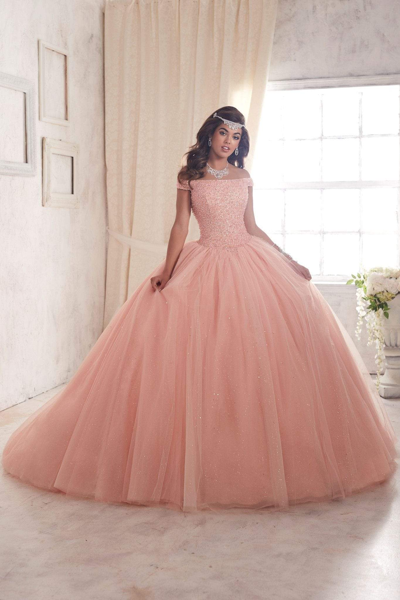 Quinceanera Collection - 26844 Crystal Studded Off Shoulder Ballgown from Quinceanera Collection
