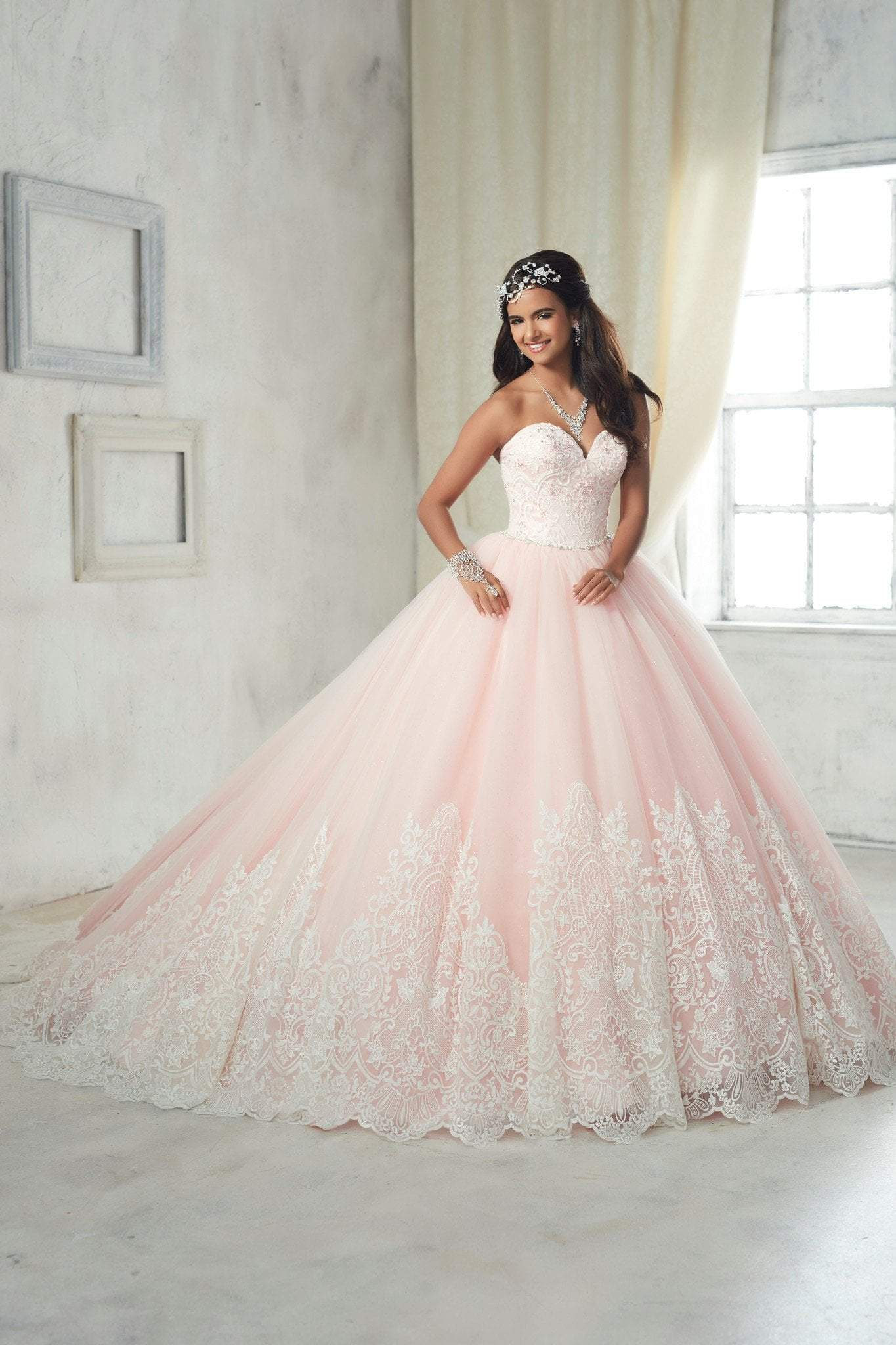 Quinceanera Collection - 26852 Lace Strapless Sweetheart Ballgown from Quinceanera Collection