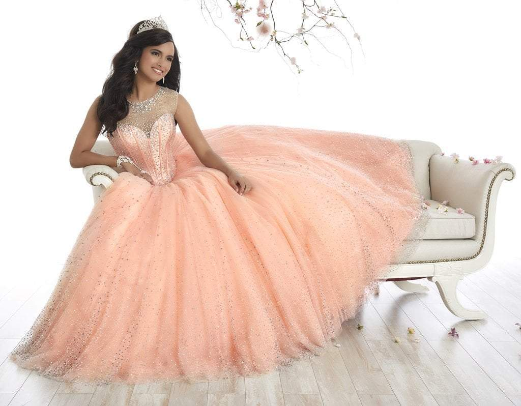 Quinceanera Collection - 26866 Sparkly Illusion Lace Up Back Ballgown from Quinceanera Collection