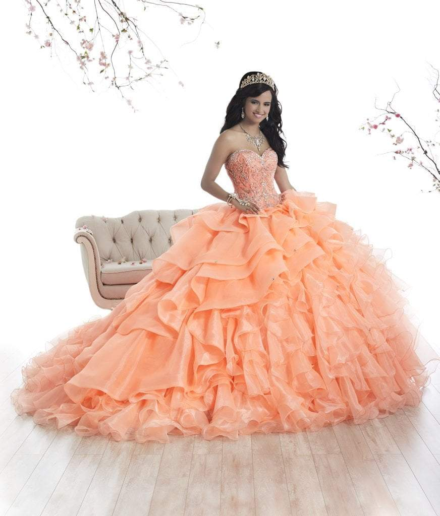 Quinceanera Collection - 26872 Beaded Strapless Ruffled Ballgown from Quinceanera Collection