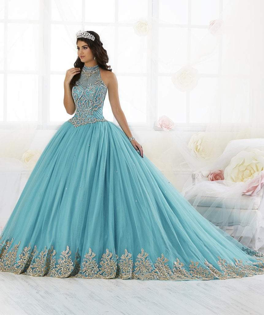 Quinceanera Collection - 26881 Gold Appliqued High Neck Ballgown from Quinceanera Collection