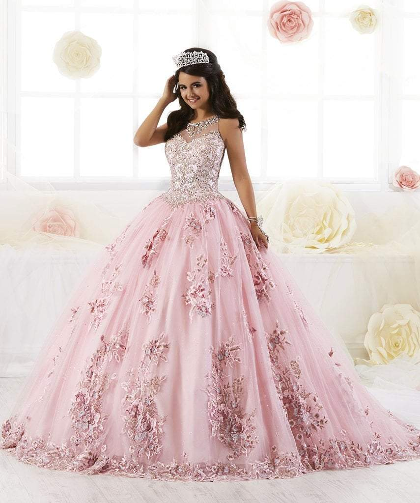 Quinceanera Collection - 26884 Bead Embellished Floral Appliqued Gown from Quinceanera Collection