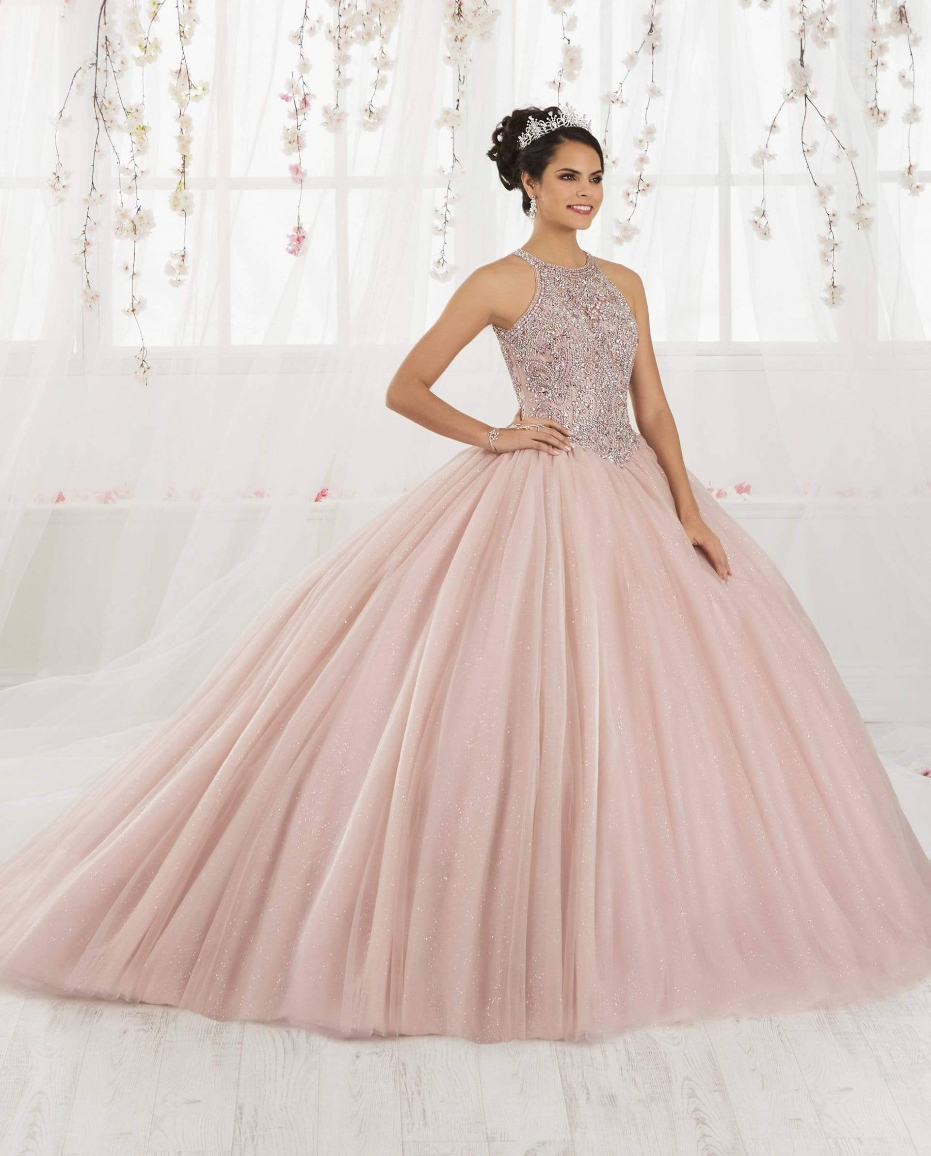 Quinceanera Collection - 26914 Halter Bodice Glitter Tulle Ballgown from Quinceanera Collection