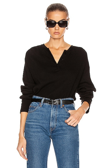 RE/DONE Henley Long Sleeve Tee in Black from RE/DONE