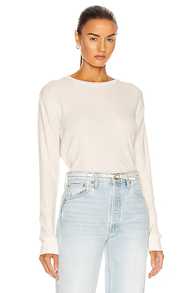 RE/DONE Thermal Long Sleeve Tee in White from RE/DONE
