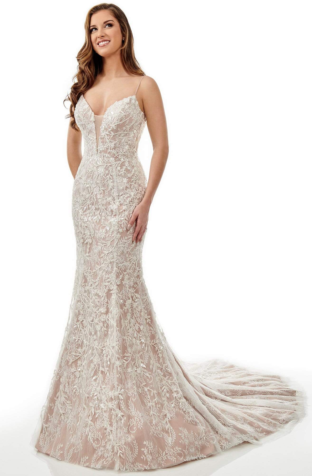 Lo'Adoro Bridal By Rachel Allan - M759 Beaded Lace Tulle Mermaid Gown from Rachel Allan