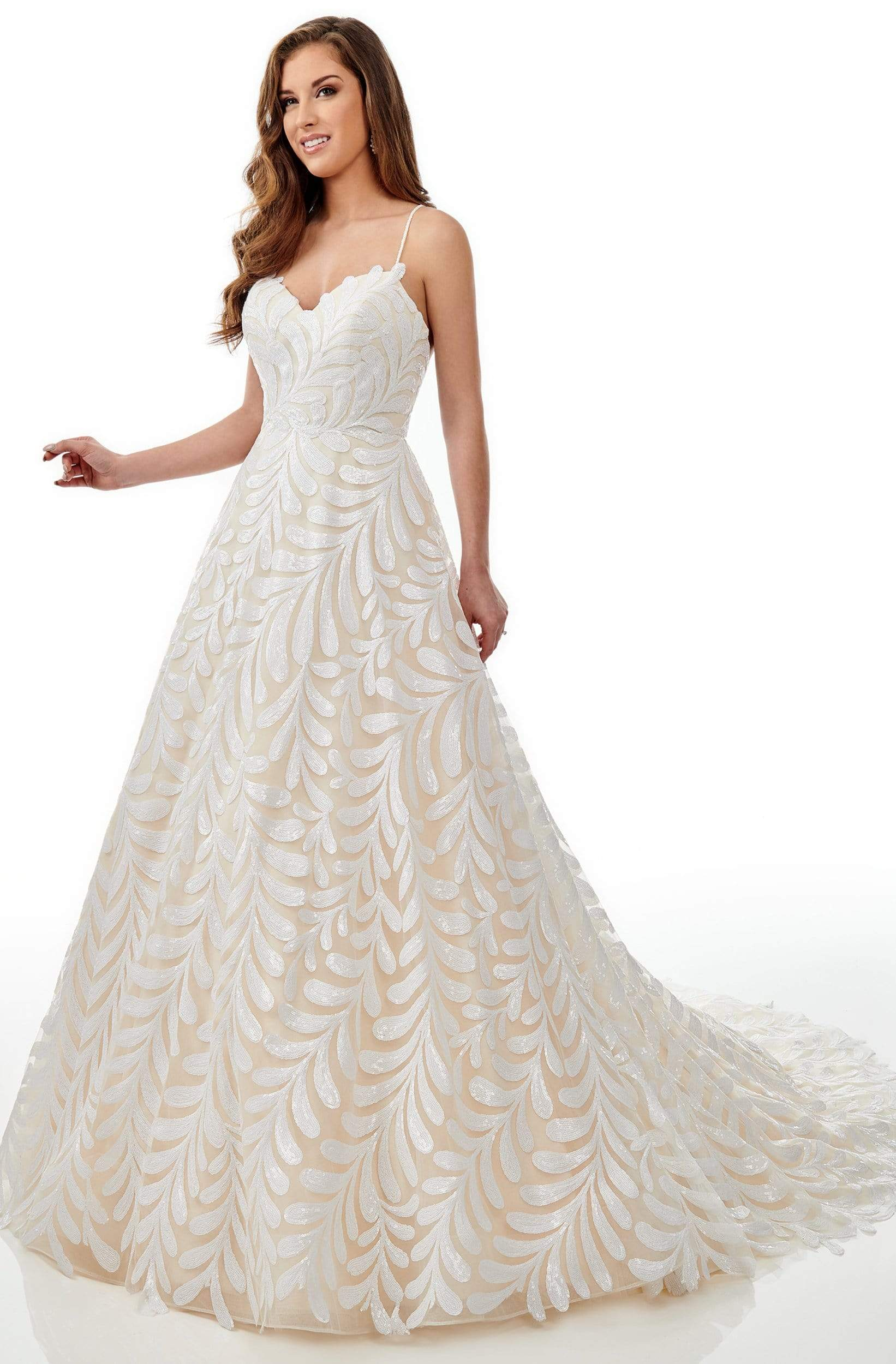 Lo'Adoro Bridal By Rachel Allan - M766 Sequined Sweetheart Aline Gown from Rachel Allan