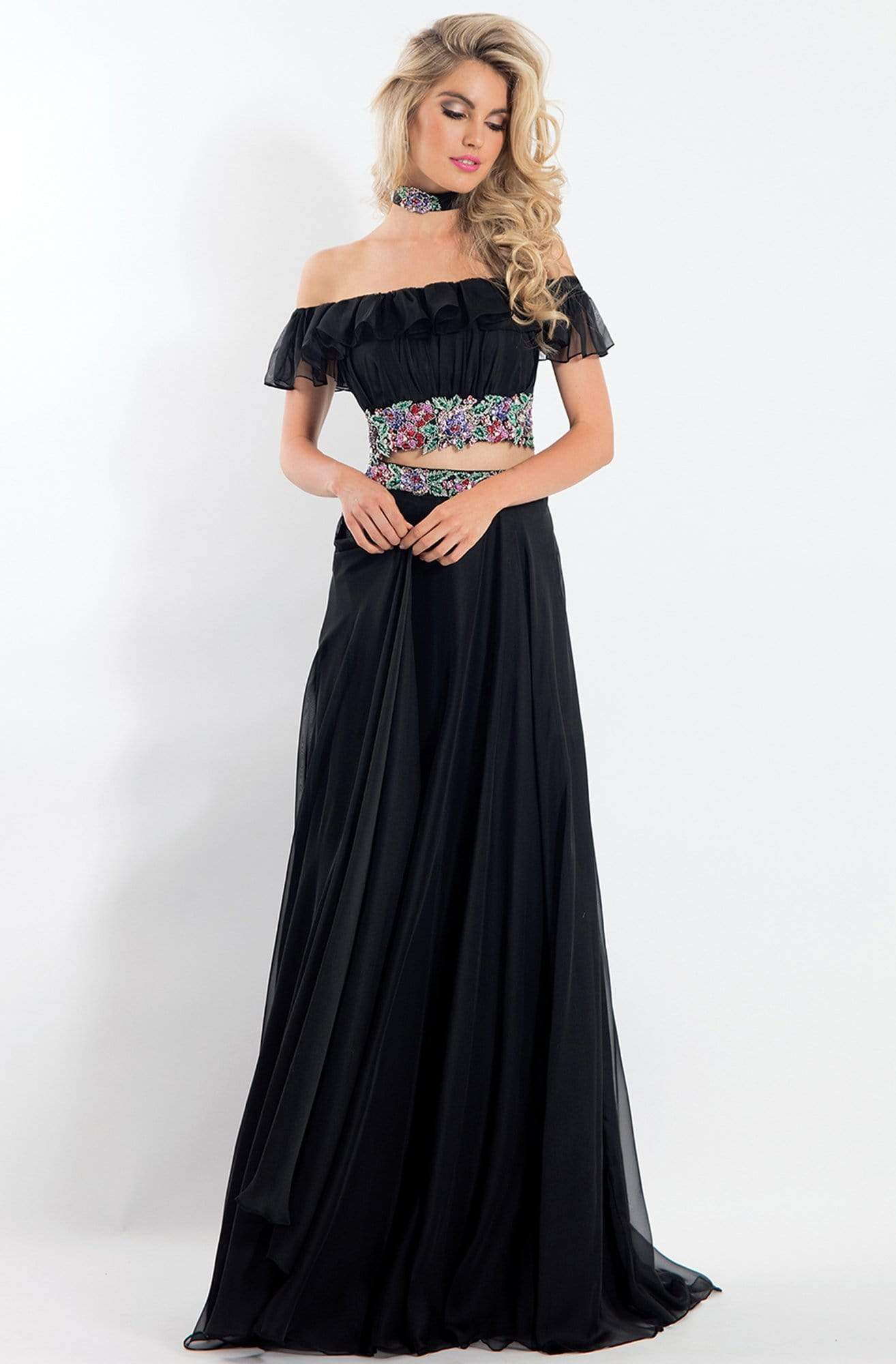Rachel Allan - 6010 Two-Piece Off Shoulder Floral Chiffon Dress from Rachel Allan