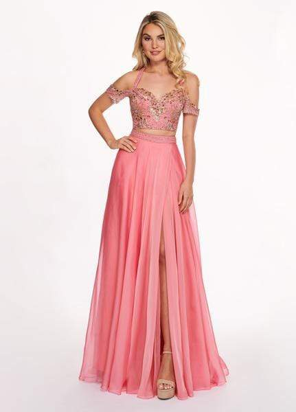 Rachel Allan - 6411 Beaded Embellished 2-Piece Cold Shoulder Prom Gown from Rachel Allan